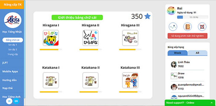 Học tiếng Nhật online 1