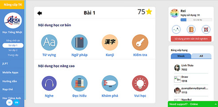 Học tiếng Nhật online sơ cấp