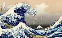 """Tác phẩm """"Sóng lừng ở Kanagawa"""" (Thần Nại Xuyên Lang Lý) của họa sĩ Katsushika Hokusai (1760-1849) theo trường phái Ukiyo-e"""