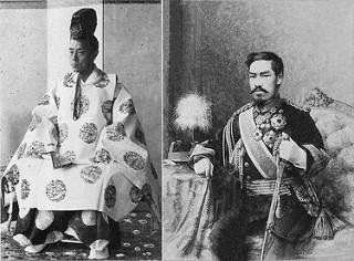 Tướng quân Tokugawa Yoshinobu (trái) và Thiên hoàng Minh Trị (phải)