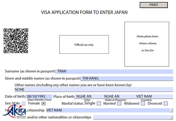 Tờ khai xin Visa Nhật Bản