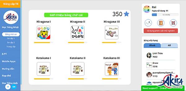 Học bảng chữ cái Kanji với Akira Online