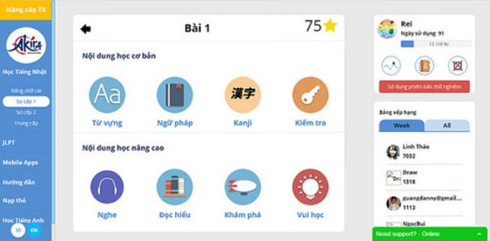 Khóa học tiếng Nhật online nền tảng
