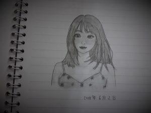vẽ chì cô gái người Nhật tóc ngắn ngang vai